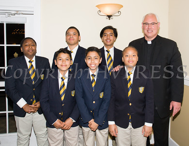 Award honoree Father Mark Connell with young men from the San Miguel Academy he founded at the 21st Annual Orange County Human Rights Commission Awards Dinner held on Thursday, April 21st at The Fountains of Wallkill. Hudson Press/CHUCK STEWART, JR.