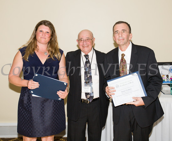 Award honorees Jennifer Bird Quigley (left) and Sean Donlon (right) were presented their award by Dr. Joseph Birnbaum (center) during the 21st Annual Orange County Human Rights Commission Awards Dinner held on Thursday, April 21st at The Fountains of Wallkill. Hudson Press/CHUCK STEWART, JR.