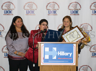 City of Newburgh Councilwoman Karen Mejia, and LDCOC Chair Sonia Ayala present Speaker of the NYC Council Melissa Mark-Viverito with certificates during the Latino Democratic Committee of Orange County Thirteenth Annual Fall Dinner Dance at Cafe Internationale in Newburgh, NY on Saturday, October 15, 2016. Hudson Valley Press/CHUCK STEWART, JR.