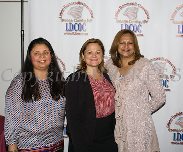 City of Newburgh Councilwoman Karen Mejia, Speaker of the NYC Council Melissa Mark-Viverito and Krystal Serrano at the Latino Democratic Committee of Orange County Thirteenth Annual Fall Dinner Dance at Cafe Internationale in Newburgh, NY on Saturday, October 15, 2016. Hudson Valley Press/CHUCK STEWART, JR.