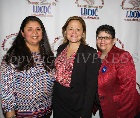 City of Newburgh Councilwoman Karen Mejia, Speaker of the NYC Council Melissa Mark-Viverito and LDCOC Chair Sonia Ayala at the Latino Democratic Committee of Orange County Thirteenth Annual Fall Dinner Dance at Cafe Internationale in Newburgh, NY on Saturday, October 15, 2016. Hudson Valley Press/CHUCK STEWART, JR.