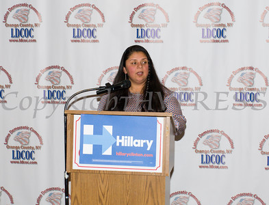 City of Newburgh Councilwoman Karen Mejia introduces Speaker of the NYC Council Melissa Mark-Viverito during the Latino Democratic Committee of Orange County Thirteenth Annual Fall Dinner Dance at Cafe Internationale in Newburgh, NY on Saturday, October 15, 2016. Hudson Valley Press/CHUCK STEWART, JR.