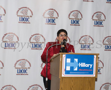 Sonia Ayala offers remarks during the Latino Democratic Committee of Orange County Thirteenth Annual Fall Dinner Dance at Cafe Internationale in Newburgh, NY on Saturday, October 15, 2016. Hudson Valley Press/CHUCK STEWART, JR.
