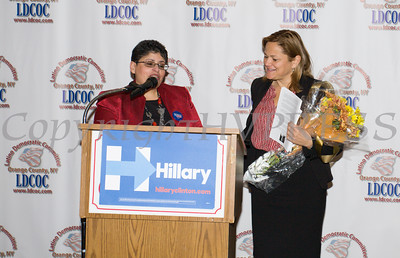 LDCOC Chair Sonia Ayala presents Speaker of the New York City Council Melissa Mark-Viverito with flowers during the Latino Democratic Committee of Orange County Thirteenth Annual Fall Dinner Dance at Cafe Internationale in Newburgh, NY on Saturday, October 15, 2016. Hudson Valley Press/CHUCK STEWART, JR.
