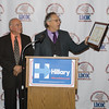 Michael Sussman presents a special award to Israel Campos during the Latino Democratic Committee of Orange County Thirteenth Annual Fall Dinner Dance at Cafe Internationale in Newburgh, NY on Saturday, October 15, 2016. Hudson Valley Press/CHUCK STEWART, JR.
