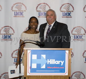 LDCOC Treasurer Vanessa Tirado with honoree Orange County Legislator James Kulisek during the Latino Democratic Committee of Orange County Thirteenth Annual Fall Dinner Dance at Cafe Internationale in Newburgh, NY on Saturday, October 15, 2016. Hudson Valley Press/CHUCK STEWART, JR.