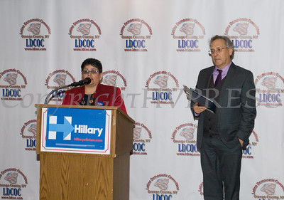 LDCOC Chair Sonia Ayala introduces Michael Sussman during the Latino Democratic Committee of Orange County Thirteenth Annual Fall Dinner Dance at Cafe Internationale in Newburgh, NY on Saturday, October 15, 2016. Hudson Valley Press/CHUCK STEWART, JR.
