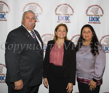 Orange County Legislator James Kulisek, Speaker of the NYC Council Melissa Mark-Viverito and City of Newburgh Councilwoman Karen Mejia at the Latino Democratic Committee of Orange County Thirteenth Annual Fall Dinner Dance at Cafe Internationale in Newburgh, NY on Saturday, October 15, 2016. Hudson Valley Press/CHUCK STEWART, JR.
