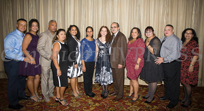 John Crespo, Jr., Yamaris Vaillant, Jr. Rodriguez, Gloria Rodriguez, Ashley Rodriguez, Rosario Frustace, Dr. Ivette Torres, Roberto Rodriguez, Kiamesha Reed, Cynthia Medina, Jose Cancel and Evelyn Renna at Latinos Unidos of the Hudson Valley's 15th Anniversary and its 11th Annual Hispanic Heritage Cultural Celebration at Anthony's Pier 9 in New Windsor, NY on Friday, October 14, 2016. Hudson Valley Press/CHUCK STEWART, JR.