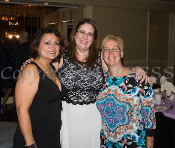 Olga Hernandez of the Orange County Department of Health, Annette Marzan and Fran Fox-Pizzonia of Planned Parenthood Mid-Hudson Valley at Latinos Unidos of the Hudson Valley's 15th Anniversary and its 11th Annual Hispanic Heritage Cultural Celebration at Anthony's Pier 9 in New Windsor, NY on Friday, October 14, 2016. Hudson Valley Press/CHUCK STEWART, JR.