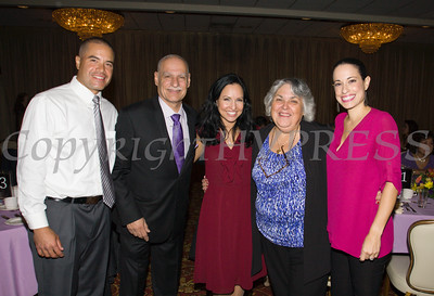David Gomez, Latinos Unidos President Peter Gonzalez, Jennifer Echevarria, Carmen Vazqueztell and Gisela Gomez at Latinos Unidos of the Hudson Valley's 15th Anniversary and its 11th Annual Hispanic Heritage Cultural Celebration at Anthony's Pier 9 in New Windsor, NY on Friday, October 14, 2016. Hudson Valley Press/CHUCK STEWART, JR.