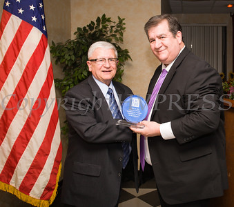 Middletown Mayor Joseph DeStefano presented the Spotlight Award to Richard Roberts during the Orange County Democratic Women 2016 Gala Dinner on Saturday, April 16, 2016 at La Casa Vicina in New Windsor, NY. Hudson Valley Press/CHUCK STEWART, JR.