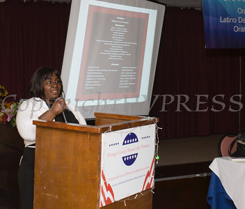 "Distinguished Guest Narene Russell, a retired NYC Correction Captain talks about her career in ""Law & Order"" during the Orange County Democratic Women 2016 Gala Dinner on Saturday, April 16, 2016 at La Casa Vicina in New Windsor, NY. Hudson Valley Press/CHUCK STEWART, JR."