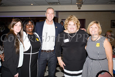 Distinguished guests Sara Colletti, a Middletown Police Officer, and Narene Russell, a retired NYS Correction Captain, with US Rep Sean Patrick Maloney (NY-18), Orange County Democratic Women President Bette Ann Yarus and distinguished guest Christine Stage, a Staff Attorney with the Orange County Attorney's Office at the 2016 OCDW Gala Dinner on Saturday, April 16, 2016 at La Casa Vicina in New Windsor, NY. Hudson Valley Press/CHUCK STEWART, JR.