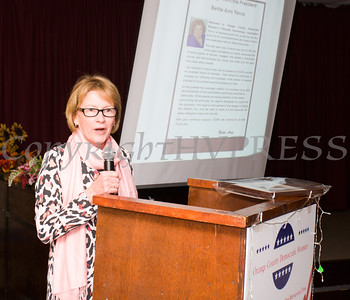 NYS Assemblywoman Aileen Gunther presented the Geraldine Ferraro Public Service Award to Vanessa Tirado during the Orange County Democratic Women 2016 Gala Dinner on Saturday, April 16, 2016 at La Casa Vicina in New Windsor, NY. Hudson Valley Press/CHUCK STEWART, JR.