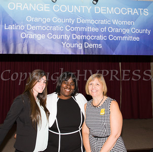 Distinguished Guests Sara Colletti, a Middletown Police Officer, Narene Russell, a retired NYC Correction Captain and Christine Stage, a Staff Attorney with the Orange County Attorney's Office were honored during the Orange County Democratic Women 2016 Gala Dinner on Saturday, April 16, 2016 at La Casa Vicina in New Windsor, NY. Hudson Valley Press/CHUCK STEWART, JR.
