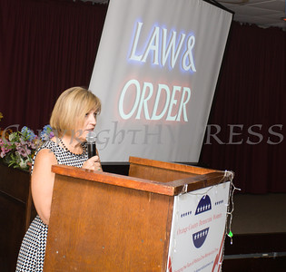 "Distinguished Guest Christine Stage, a Staff Attorney with the Orange County Attorney's Office talks about her career in ""Law & Order"" during the Orange County Democratic Women 2016 Gala Dinner on Saturday, April 16, 2016 at La Casa Vicina in New Windsor, NY. Hudson Valley Press/CHUCK STEWART, JR."