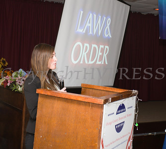 "Distinguished Guest Sara Colletti, a Middletown Police Officer talks about her career in ""Law & Order"" during the Orange County Democratic Women 2016 Gala Dinner on Saturday, April 16, 2016 at La Casa Vicina in New Windsor, NY. Hudson Valley Press/CHUCK STEWART, JR."