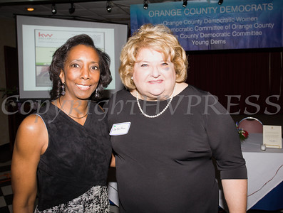 Geraldine Ferraro Public Service Award Recipient Vanessa Tirado with Orange County Democratic Women President Bette Ann Yarus at the OCDW 2016 Gala Dinner on Saturday, April 16, 2016 at La Casa Vicina in New Windsor, NY. Hudson Valley Press/CHUCK STEWART, JR.