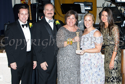 Josh Sommers, Marcel Martno, Linda S. Muller, Pillar Honoree Community Foundation President and CEO Elizabeth Rowley, and Lisa Sommers pose for a picture during Cornerstone Family Healthcare's 17th Annual Pillars of the Community Gala held at Anthony's Pier 9 on Saturday, November 5, 2016. Hudson Valley Press/CHUCK STEWART, JR.
