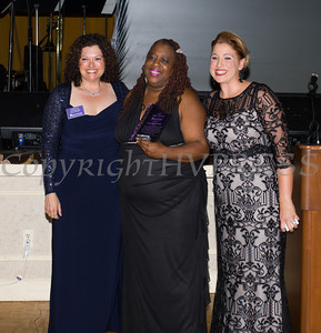 Safe Homes Board of Directors Chair Christine Fitzgerlad, presents the Hope Award to Lavon Morris-Grant along with Safe Homes Executive Director Kellyann Kostyal-Larrier as Safe Homes of Orange County celebrated its 30th Anniversary with a Celebration of Hope Gala on Friday, October 21, 2016. Hudson Valley Press/CHUCK STEWART, JR.