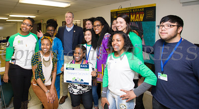 "Americorps volunteers pose wth US Rep Sean Patrick Maloney (NY-18) during his ""Speak with Sean"" neighborhood office hours in Poughkeepsie at the Family Partnership Center in Poughkeepsie, NY on Saturday, February 27, 2016. Hudson Valley Press/CHUCK STEWART, JR."