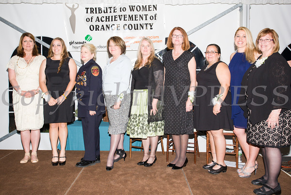 Honorees Patt Smith, Jillian Dolce, Robin Reynolds, Regina McGrade, Katherine Fox, Joan Cusack-McGuirk, Ranaye Corley, Kellyann Kostyal-Larrier and Willa Freiband at the 24th Annual Tribute to Women of Achievement of Orange County held at West Hills Country Club in Middletown, NY on Wednesday, May 11, 2016. Hudson Press/CHUCK STEWART, JR.