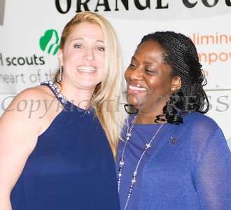 Honoree Kellyann Kostyal-Larrier with Pamela Anderson at the 24th Annual Tribute to Women of Achievement of Orange County held at West Hills Country Club in Middletown, NY on Wednesday, May 11, 2016. Hudson Press/CHUCK STEWART, JR.