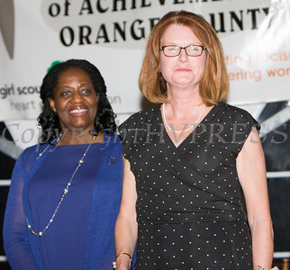 Pamela Andersona and Honoree Joan Cusack-McGuirk during the 24th Annual Tribute to Women of Achievement of Orange County held at West Hills Country Club in Middletown, NY on Wednesday, May 11, 2016. Hudson Press/CHUCK STEWART, JR.