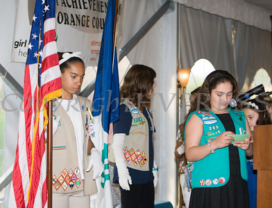 Girls Scouts Heart of the Hudson Troop 285 presents the Colors during the 24th Annual Tribute to Women of Achievement of Orange County at West Hills Country Club in Middletown, NY on Wednesday, May 11, 2016. Hudson Press/CHUCK STEWART, JR.