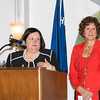 Maria Ingrassia and Marcia Jacobowitz introduce the Bobbie Lahey Alumnae Award recipient during the 24th Annual Tribute to Women of Achievement of Orange County held at West Hills Country Club in Middletown, NY on Wednesday, May 11, 2016. Hudson Press/CHUCK STEWART, JR.
