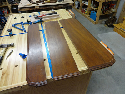 HAD TO SPLIT THE TABLE-TOP IN THREE PLACES TO CUT OUT THE BAD SPLITS THAT HAD OCCURED OVER THE LAST 100+ YEARS