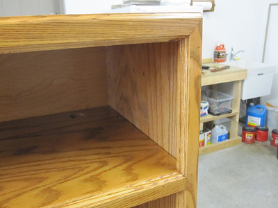 """CLOSE UP OF THE """"FACE-FRAME TRIM"""" & CORNER MITERS."""