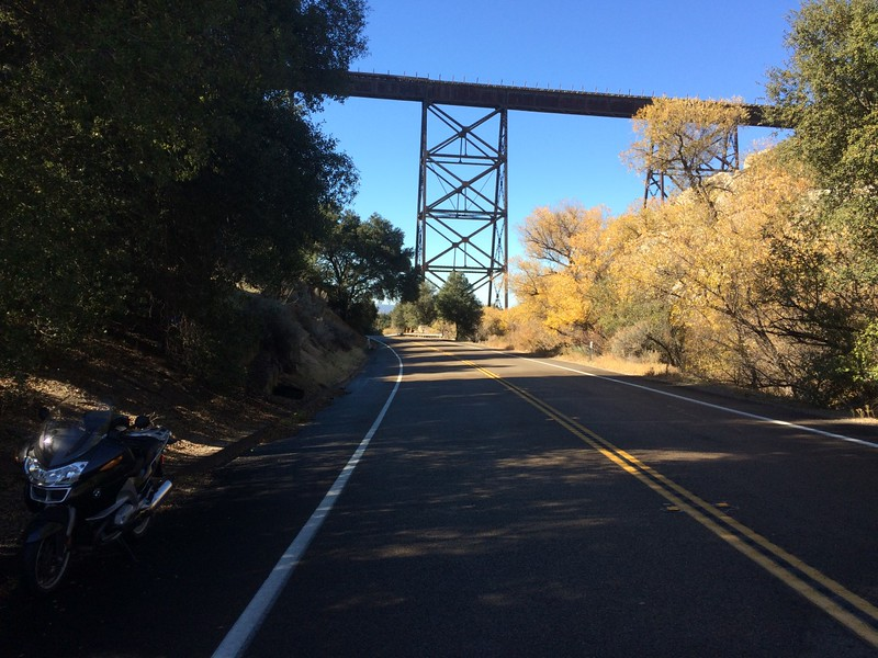 "The ""High Bridge"" of the San Diego & Arizona Railway over Hwy 94 east of Campo."