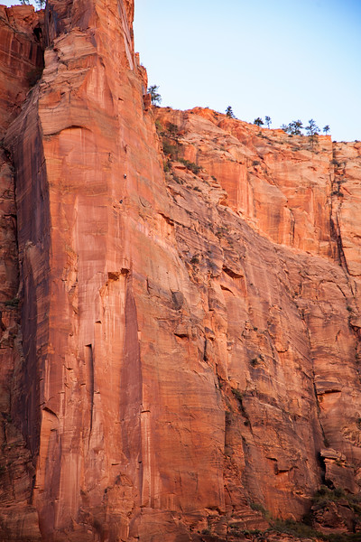 Climbers move higher on <i>Moonlight Buttress</i> in the late afternoon shade.