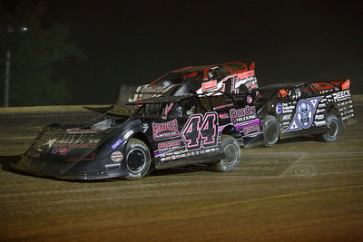 Chris Madden (44), Scott Bloomquist (0) and Jason Hiett (1)