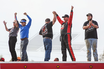 Larry Harrod and crew celebrate Terrance Nowell winning the Crate Late Model race