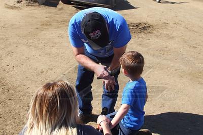 LOLMDS Announcer James Essex interviewing Jonathan Davenport's son, Blane, after winning his dash in the Bike Winternationals at East Bay Raceway Park