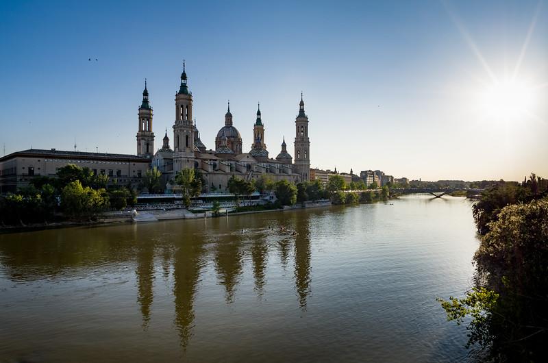 View of the Basilica de Nuestra Señora del Pilar from the Ebro river. Zaragoza, Spain.