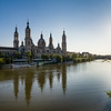 View of the Basilica de Nuestra Señora del Pilar from the Ebro river. Zaragoza, Spain.