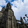 The clouds begin to break above Catedral del Buen Pastor. Donostia-San Sebastián, Spain.