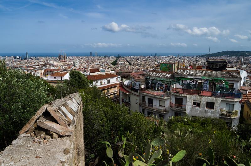 La vista from atop Parc Güell. Barcelona, Spain.