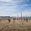 Volleyball practice en Barceloneta. Barcelona, Spain.