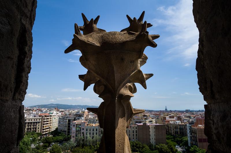 The view from one of Basilica de la Sagrada Família's spires of the Nativity façade. Barcelona, Spain.