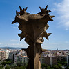 The view from one of Basilica de la Sagrada Família's spires of the Nativity façade. Barcelona, Spain.