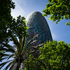 Torre Agbar is the most distinctive edificio in Poblenou. Barcelona, Spain.