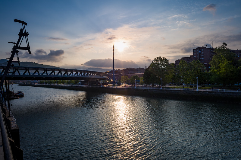 Sunset on the Nervión river. Bilbao, Spain.