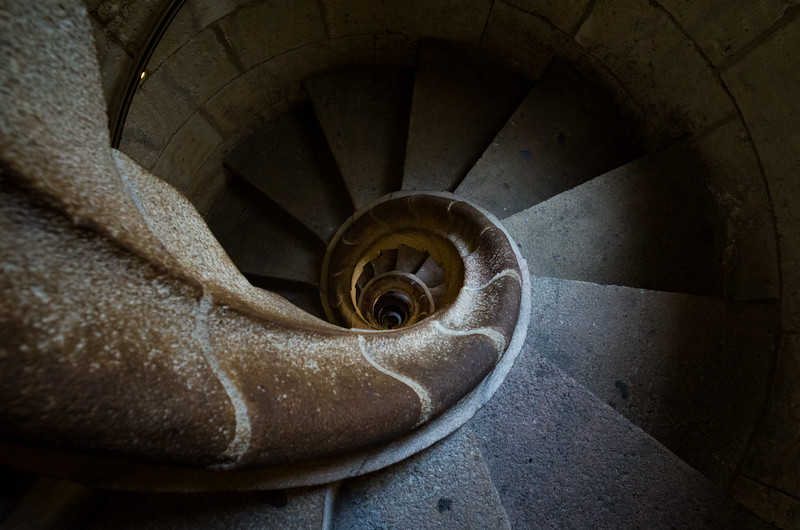 The spiral staircases of Basilica de la Sagrada Família's torres have been patterned after sea shells. Barcelona, Spain.