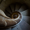 The spiral staircases of Basilica de la Sagrada Família's torres have been patterned after sea shells. Barcelona, Spain.
