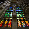 A study of the ornate stained glasswork in the nave of Basilica de la Sagrada Família. Barcelona, Spain.